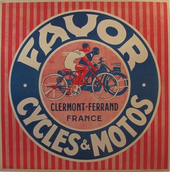 1930s French Art Deco Poster, Favor Cycles & Motos