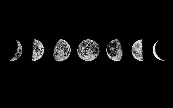 (A lire de gauche à droite) La Lune tourne autour de la terre environ tous les 29-30 jours. C'est ce qu'on appelle une lunaison. Un cycle lunaire possède huit phases. Les phases de la lune a...