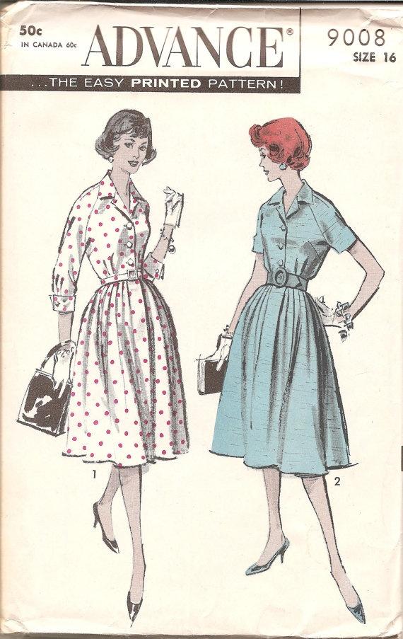 1950s Womens Shirtdress  Vintage Pattern Advance by ErikawithaK