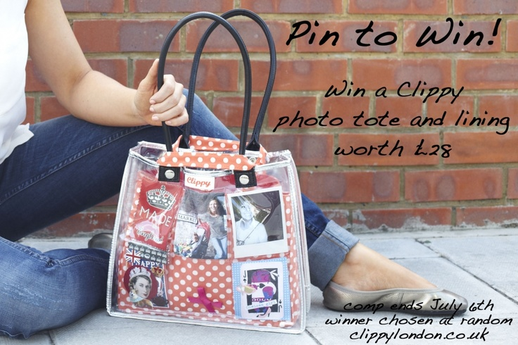 PIN TO WIN.  Win a Clippy photo tote and lining.  Just re-pin this post and we'll pick a winner at random on Friday. #clippy #competition http://www.clippykitlondon.co.uk/blog/assets/media/pinterest-competition2.jpg