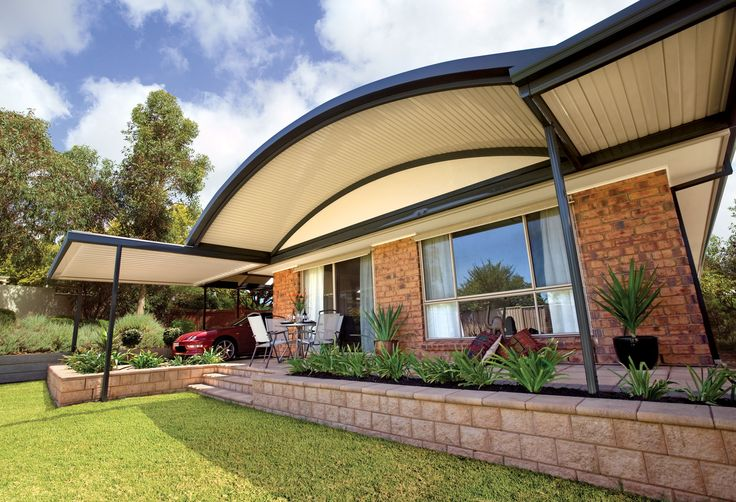 The Stratco Outback Curved Roof Patio is a unique, sleek, curved roof patio design with a   contemporary flair, accentuated by its curved roof which arcs out above the veranda, transforming   a drab under covered area into a luxury patio, carport or veranda. Give new life to your outdoor   entertaining area with a curved roof patio from Stratco! new patio brisbane, luxury patio  brisbane. www.hats4houses.com.au