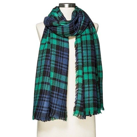 Women's Cozy Plaid Blanket Wrap Scarf Blue Green - Merona™