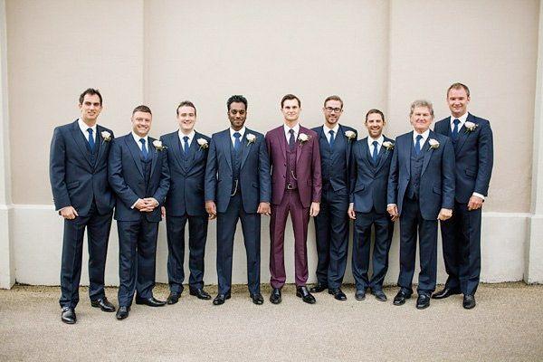 garnet inspired grooms suit and navy groomsmens - brides of adelaide