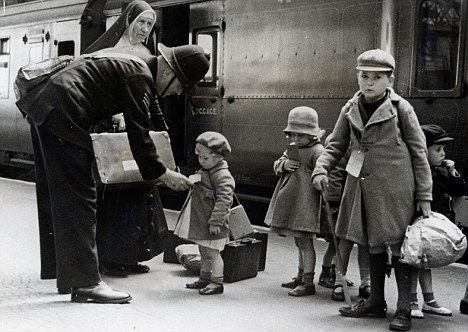Children evacuate London by train during the Battle of Britain; this pinner's comment: my gran and granddad took in some children from London during the war; the kids had impetigo and granddad treated it with boric acid crystals dissolved in water