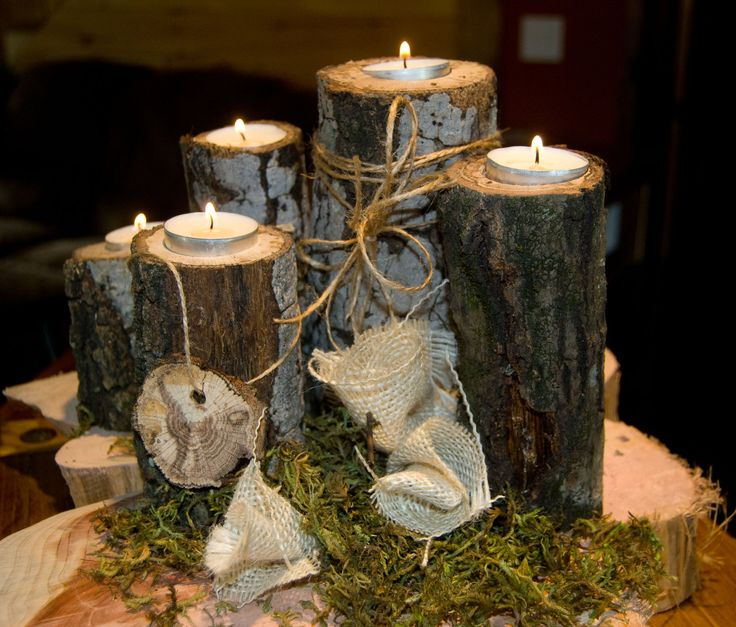 Country Wedding Centerpiece Decorations : Tea light wood branch tree slice candle holders fall