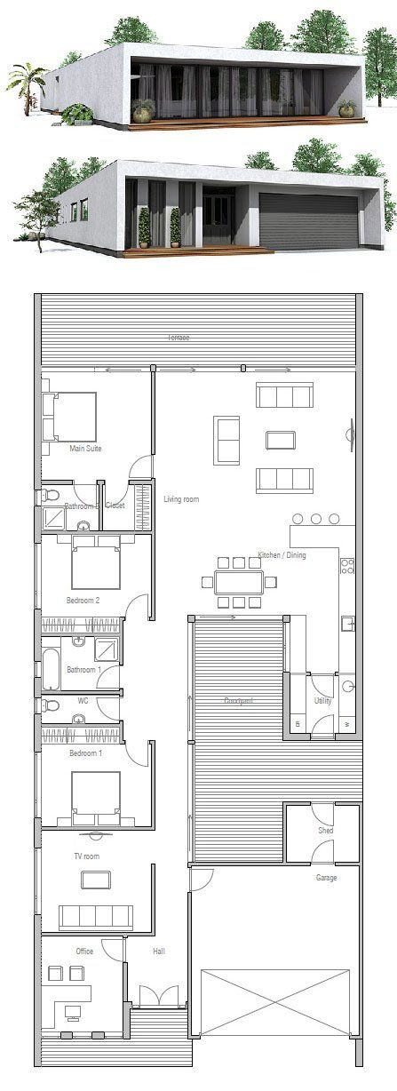 71 best narrow house plans images on pinterest narrow for Minimalist narrow house plans