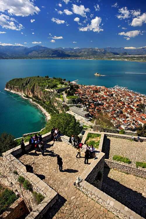 the view from Palamidi Castle, overlooking Nafplio, Greece