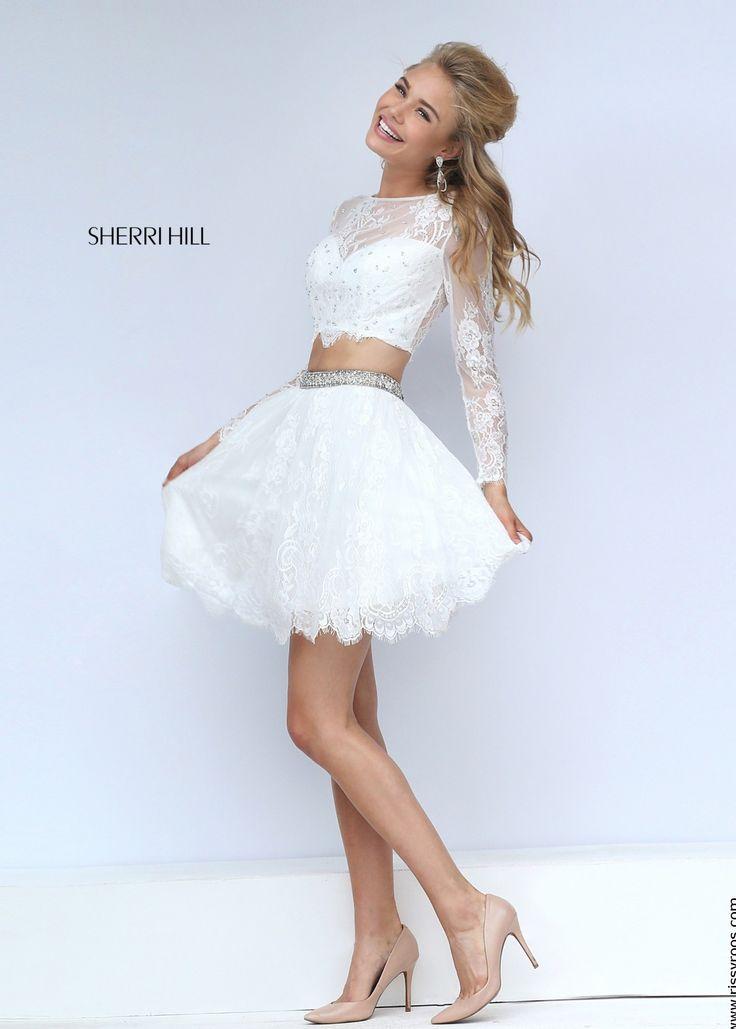 Sherri Hill 50073 Ivory Lovely Lace Illusion 2 Piece Short Dress