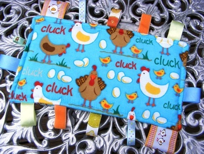 Baby & Toddler Tactile Comfort Bankets - Blue with Chicken & Hens