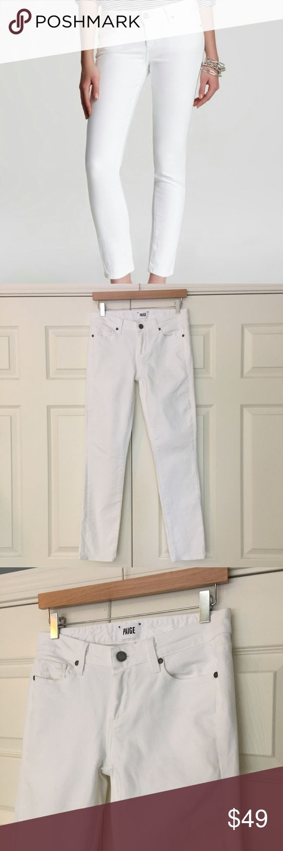 """Paige White Skyline Ankle Peg Jean classic wardrobe staple with amazing Paige fit! optic white Skyline Ankle Peg jeans. 98% cotton 2% elastane. excellent condition - worn just once. please see closeup pic of inside edge of hem on right leg for a stain - not noticeable since it's on the inside edge. size 28. waist flat is 14.5"""", front rise is 8"""", inseam is 28.5"""". Paige Jeans Jeans Skinny"""