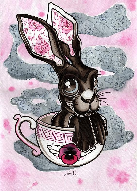 Mad Hatter Hare and Tea Cup Tattoo Flash Art by CrowsCrossbones, £6.00