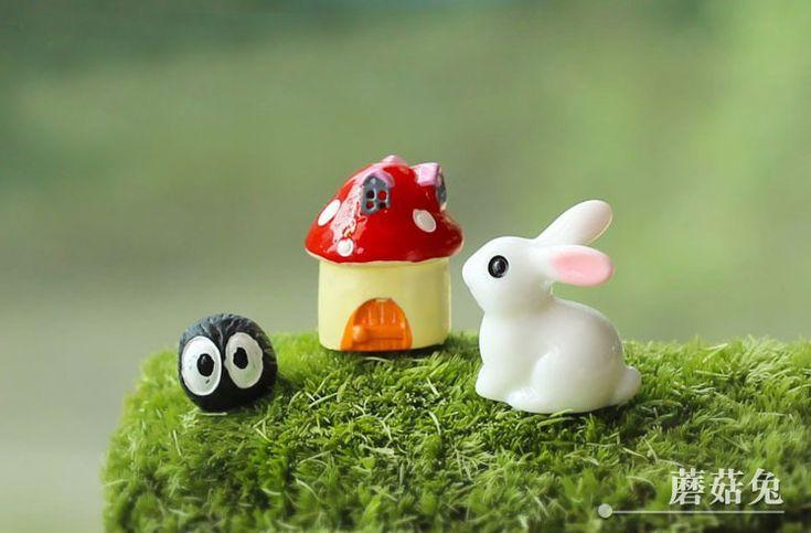 3 Шт./смола кролик с грибами/fantasy миниатюры/милые животные/фея садовый гном/мох террариум декора/ремесла/бонсай/n009