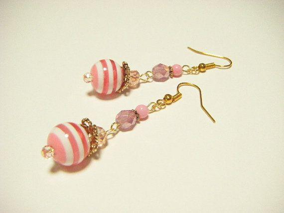 Pink stripe earrings pink dangle earrings pink by Coloramelody