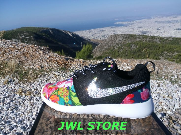 710e57b89ea2 ... coupon code for wmns custom nike roshe run shoes with fabric floral  dark blue color sneakers