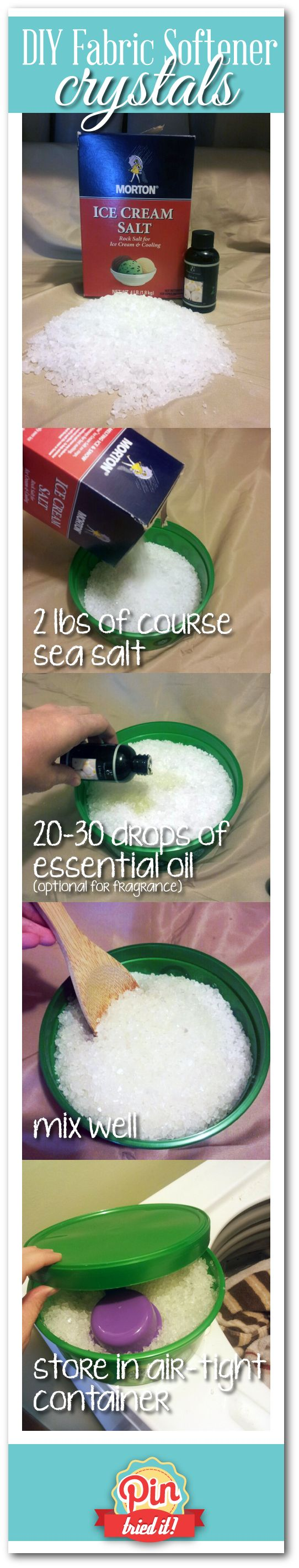 DIY Laundry Fabric Softener Crystals. 2lbs course salt, 20-30 drops of essential