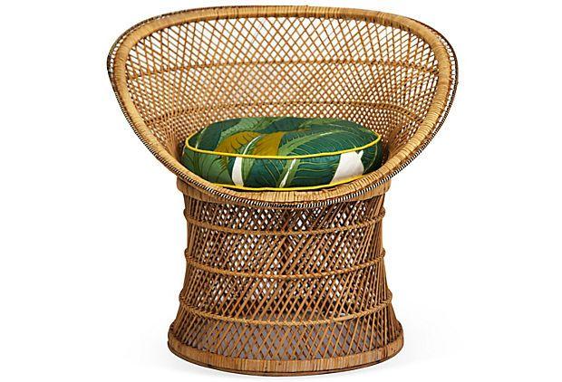Retro Wicker Chair w/ Upholstery