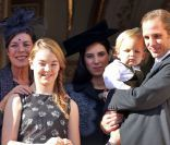 La princesse Caroline de Hanovre, la princesse Alexandra de Hanovre, Sacha Casiraghi, son père Andrea Casiraghi et sa mère Tatiana Santo Domingo, enceinte, le 19 novembre 2014 au palais princier pour la Fête nationale monégasque