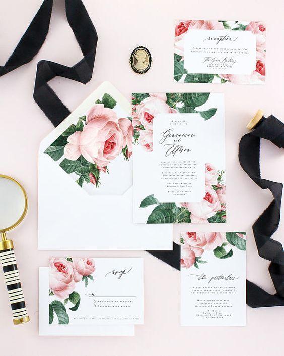 Pink Floral Spring Wedding Invitations