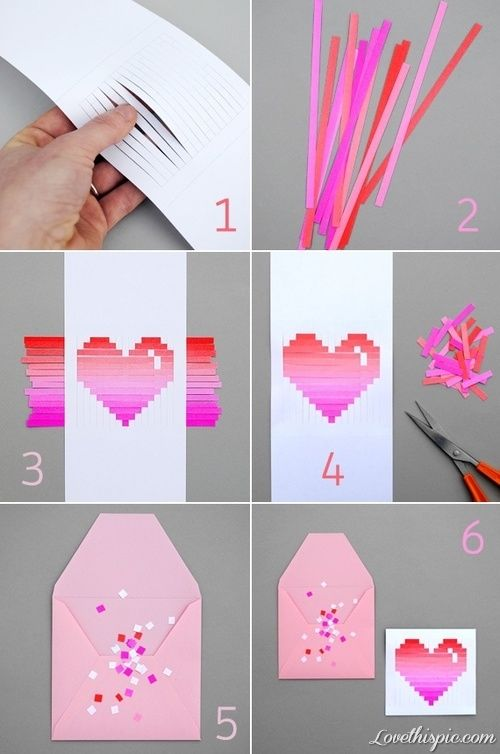 DIY Paper Heart Card love girly cute girl heart pretty diy diy projects diy craft diy paper heart card