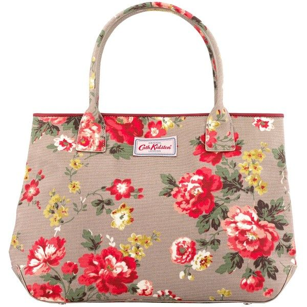 Cath Kidston Embossed Winter Rose Tote Bag, Oat ($125) ❤ liked on Polyvore featuring bags, handbags, tote bags, flower print purse, floral print handbags, cath kidston handbags, floral purse and cath kidston
