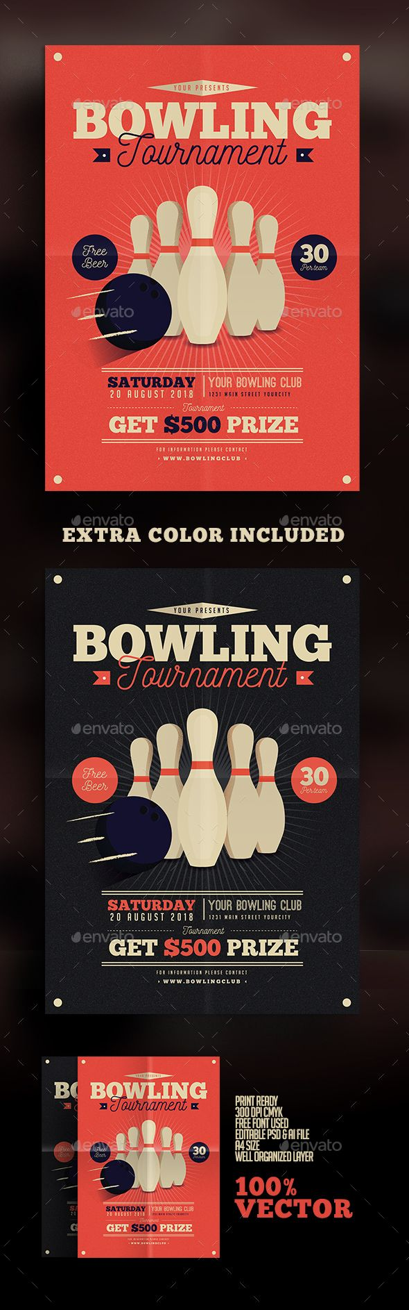 Vintage Bowling Tournament Flyer — Photoshop PSD #vector #illustration • Available here → https://graphicriver.net/item/vintage-bowling-tournament-flyer/15587134?ref=pxcr