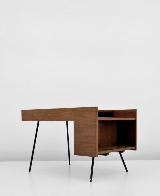 Milo Baughman , Wood and Enameled Metal Side Table, 1950s