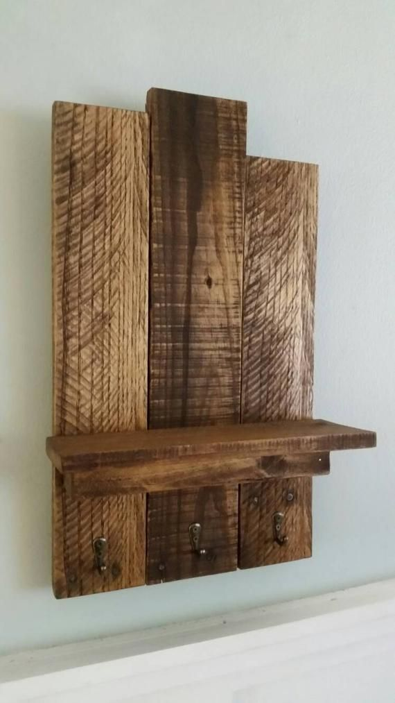 Reclaimed Wooden Entry Way Shelf With Key Hooks Small Rustic Pallet Wood Shelf Mounted Coat Rack Key Hooks Wooden Pallet Shelf Entryway Wooden Pallet Shelves Wood Shelves Shelves
