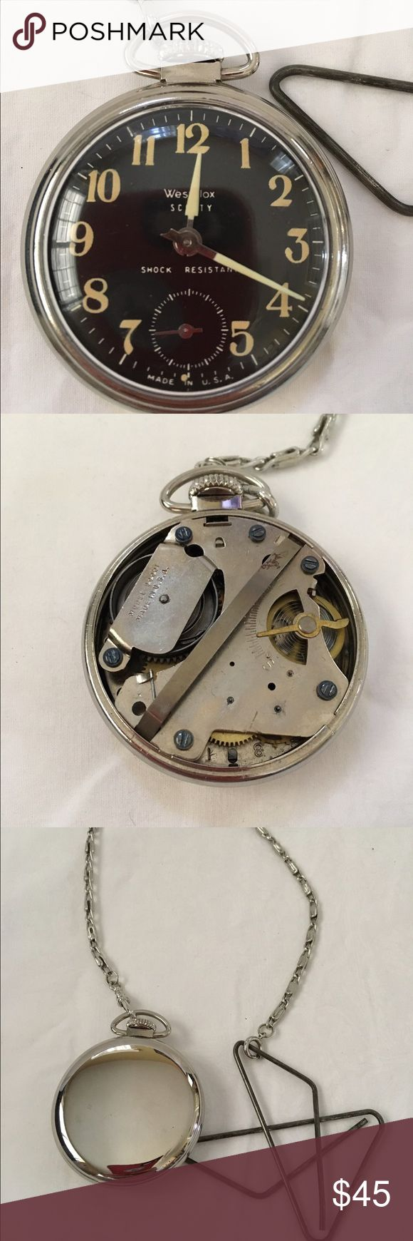 """Vintage mechanical pocket watch westclox Scotty This vintage Scotty pocket watch is circa 1960's. It's been keeping time for 48 hours. The luminous dial and hands look great.  The chain has been repaired with wire in one spot.  It measures approximately 2"""" across. Vintage Accessories Watches"""