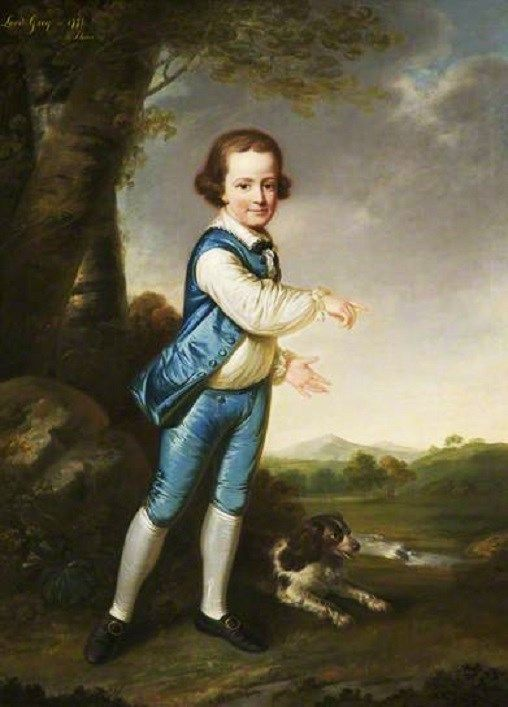 George Harry, Lord Grey of Groby, Later 6th Earl of Stamford, as a Young Boy by James Shaw (1773) - Note the unusually unbuttoned waistcoat.