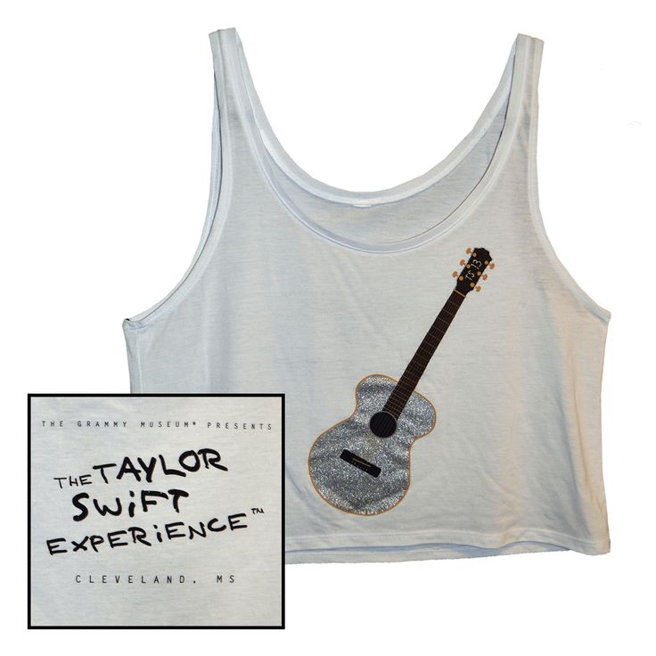 Check out the deal on SILVER SPARKLE GUITAR WHITE TANK TOP at Taylor Swift Official Online Store