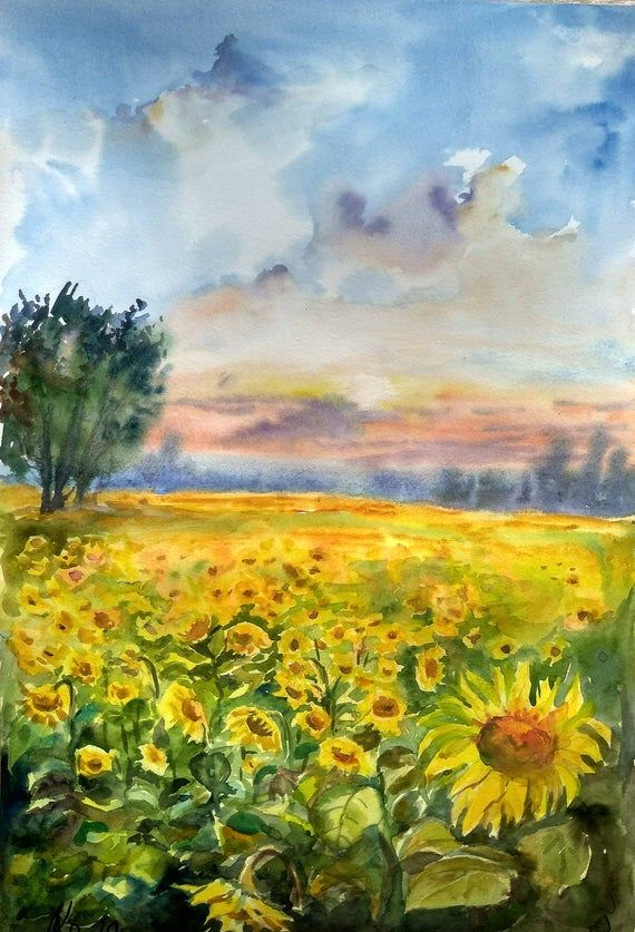 Sunflower Painting Image By Maya On Watercolor Painting In 2020