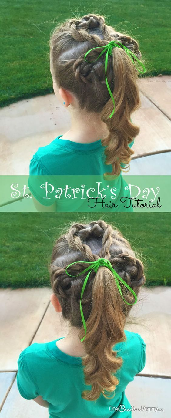 I love this adorable St. Patrick's Day hair! Learn how to create this cute shamrock girl's hair style. Simple tutorial.{OneCreativeMommy.com}
