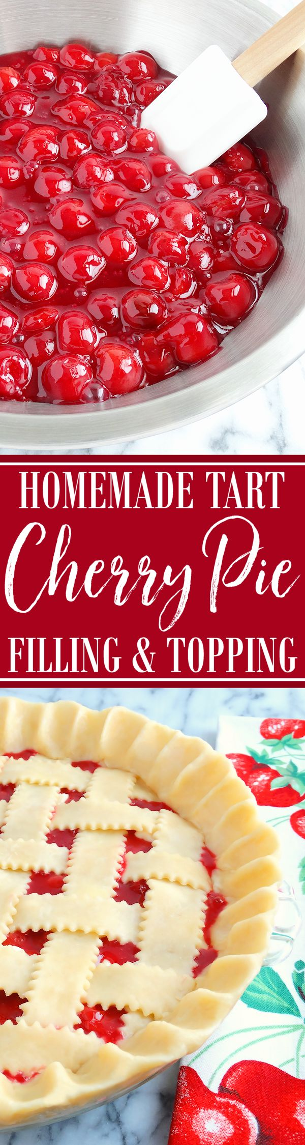 "Mom's Tart Cherry Pie Filling ~ A sumptuous homemade cherry pie filling made with plenty of fresh picked tart ""Meteor"" cherries (6 cups!) as well as just the right amount of sugar for sweetness and fresh cherry juice for tartness makes our cherry pie filling stand out from the pack. By using tapioca starch as a thickener, versus flour as in the original vintage recipe, or cornstarch, the fresh cherry flavor bursts through the filling instead of being overpowered resulting in a clear and…"