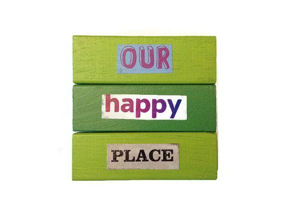 Onze Happy Place koelkast magneten groen gerecycleerd door FuNkTjUnK