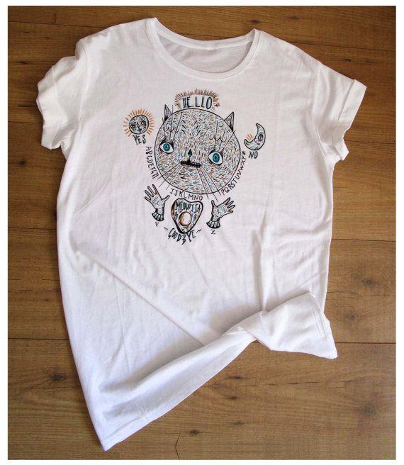 Cat Ouija t-shirt/dress hand painted free di ValentinaZummo