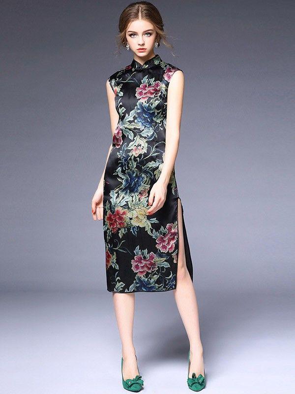 Tea-length Black Floral Silk Qipao / Cheongsam Dress