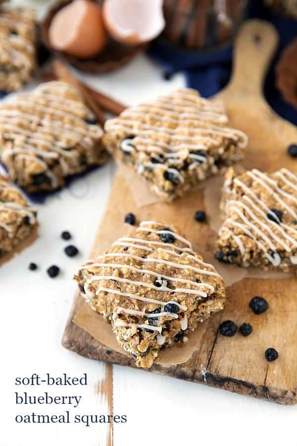 {Nature Valley Copycat} Soft-Baked Blueberry Oatmeal Squares Bars (egg whites, almost fat free!)