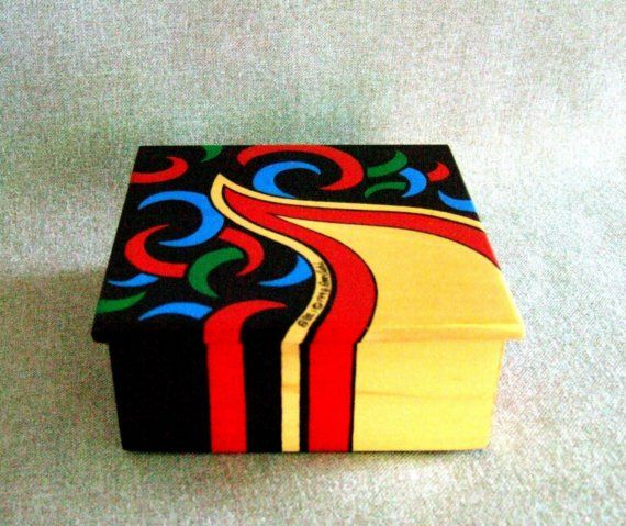 Unique 3-D Art, Hand Painted Wooden Box, Home Office Decor, Signed Dated, Collectible, Gift by IshiGallery, $200.00