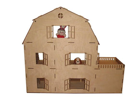 The vector plan is designed and tested for laser cutting. The house can be assembled without glue. Characteristics. Plywood thickness: 3.2 mm (1/8 inch), 6.4 mm (1/4 inch). Dollhouse dimensions: - length 27.6 inches (70 cm), - width 8.7 inches (22 cm), - height 23.6 inches (60 cm). The