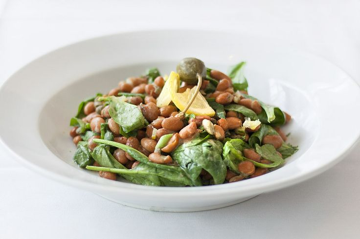 Pinto Bean and Spinach Salad: capers, green onions, preserved lemon, and parsley in a Dijon-lemon vinaigrette. Gluten-free!