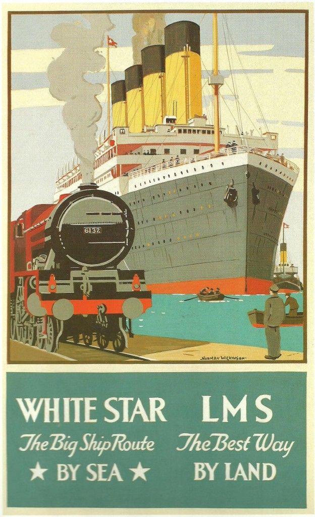 Railway Transport Poster . The Best Route (London, Midland & Scottish Railway – LMS & White Star)