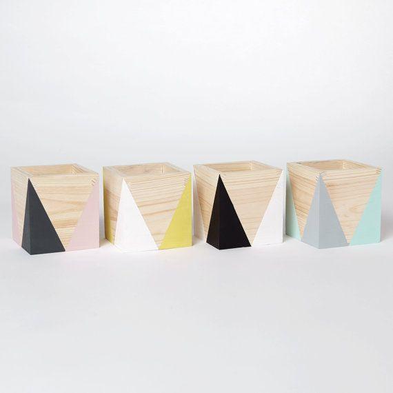 Hölzerne Lagerung Topf verschiedene Farben von HappyLittleFolksShop