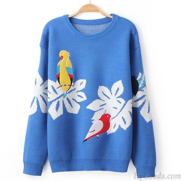 Hochschule Stil Bestickt Birds Strickjacke Pullover Mantel only $35 in ByGoods.com!