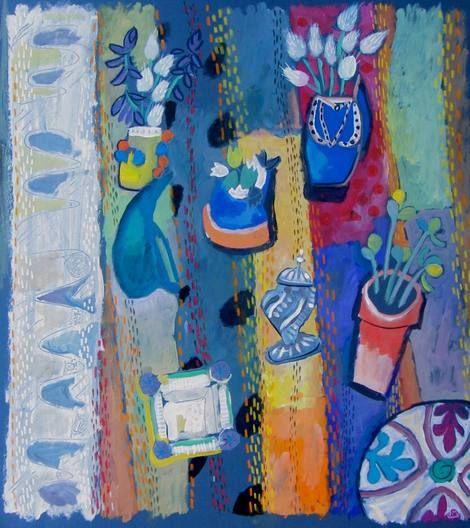 Helen Mudge, Still Life on ArtStack #helen-mudge #art. Gouache & Acrylic on card. South Africa