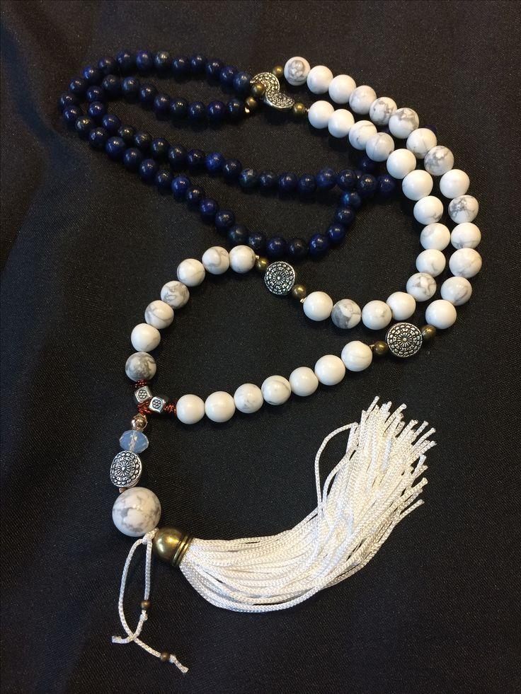 Lapis lazuli and howlita japamala 108 beads