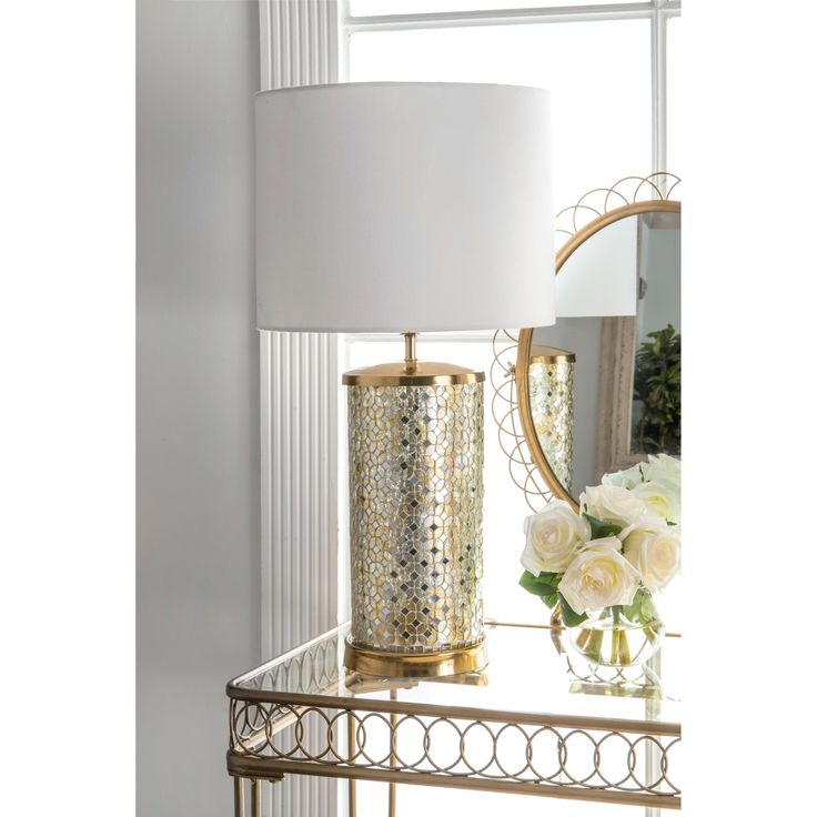 "Watch Hill 25"" Ava Mosaic Cotton Shade Silver Table Lamp 