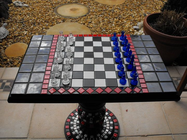 Mosaic Chess Board- Creations by Toni Le Lievre https://www.facebook.com/creationsbytonilelievre
