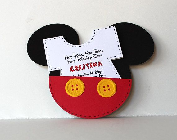 mickey mouse baby shower invitations with removable onesie insert with