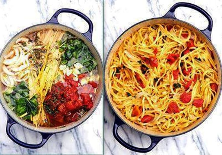 """Blow your MIND"" Tomato Basil Pasta! - No Straining, just Stirring Throw it all in the pot, INCLUDING the uncooked Pasta, and cook! - Bring it to a boil, then reduce to a simmer. The starch leaches out of the pasta and makes a rich, warm sauce for the noodles. The other ingredients cook right along with the pasta"