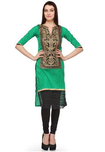 Aujjessa 3/4Th Sleeve Embroidered Green Kurta - Buy Women Kurtas & Kurtis Online | AU628WA13OVEINDFAS